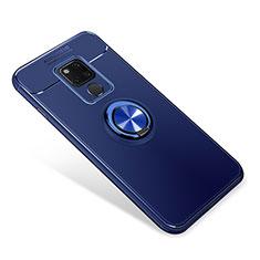 Funda Silicona Carcasa Ultrafina Goma con Magnetico Anillo de dedo Soporte para Huawei Mate 20 Azul