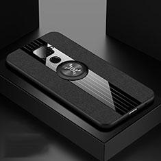 Funda Silicona Carcasa Ultrafina Goma con Magnetico Anillo de dedo Soporte para Huawei Mate 30 Lite Negro