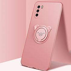 Funda Silicona Carcasa Ultrafina Goma con Magnetico Anillo de dedo Soporte para Huawei Mate 40 Lite 5G Oro Rosa