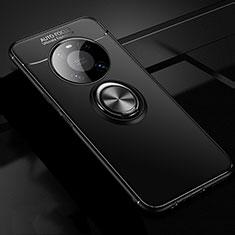 Funda Silicona Carcasa Ultrafina Goma con Magnetico Anillo de dedo Soporte para Huawei Mate 40 Pro Negro