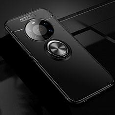 Funda Silicona Carcasa Ultrafina Goma con Magnetico Anillo de dedo Soporte para Huawei Mate 40 Pro+ Plus Negro
