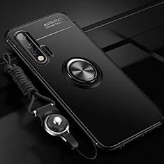 Funda Silicona Carcasa Ultrafina Goma con Magnetico Anillo de dedo Soporte para Huawei Nova 6 5G Negro