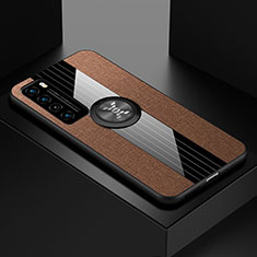Funda Silicona Carcasa Ultrafina Goma con Magnetico Anillo de dedo Soporte para Huawei Nova 7 5G Marron