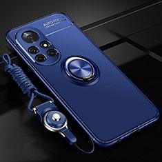Funda Silicona Carcasa Ultrafina Goma con Magnetico Anillo de dedo Soporte para Huawei Nova 8 Pro 5G Azul