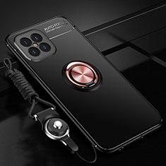 Funda Silicona Carcasa Ultrafina Goma con Magnetico Anillo de dedo Soporte para Huawei Nova 8 SE 5G Oro y Negro