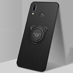 Funda Silicona Carcasa Ultrafina Goma con Magnetico Anillo de dedo Soporte para Huawei P Smart (2019) Negro