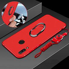 Funda Silicona Carcasa Ultrafina Goma con Magnetico Anillo de dedo Soporte para Huawei P Smart+ Plus Rojo