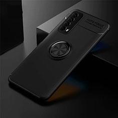 Funda Silicona Carcasa Ultrafina Goma con Magnetico Anillo de dedo Soporte para Huawei Y7a Negro