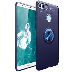 Funda Silicona Carcasa Ultrafina Goma con Magnetico Anillo de dedo Soporte para Huawei Y9 (2018) Azul