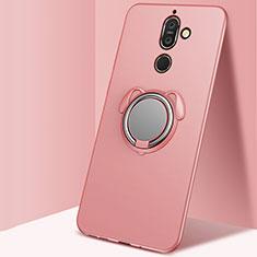 Funda Silicona Carcasa Ultrafina Goma con Magnetico Anillo de dedo Soporte para Nokia 7 Plus Oro Rosa