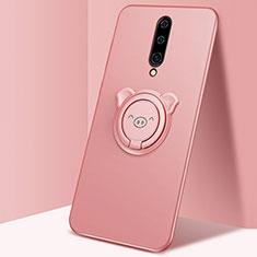 Funda Silicona Carcasa Ultrafina Goma con Magnetico Anillo de dedo Soporte para OnePlus 8 Oro Rosa
