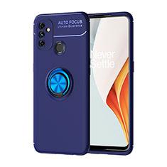 Funda Silicona Carcasa Ultrafina Goma con Magnetico Anillo de dedo Soporte para OnePlus Nord N100 Azul