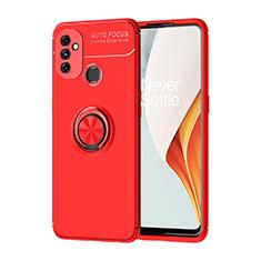Funda Silicona Carcasa Ultrafina Goma con Magnetico Anillo de dedo Soporte para OnePlus Nord N100 Rojo