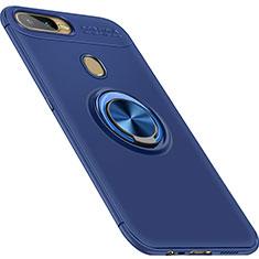 Funda Silicona Carcasa Ultrafina Goma con Magnetico Anillo de dedo Soporte para Oppo A7 Azul