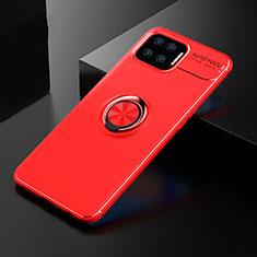 Funda Silicona Carcasa Ultrafina Goma con Magnetico Anillo de dedo Soporte para Oppo A73 (2020) Rojo