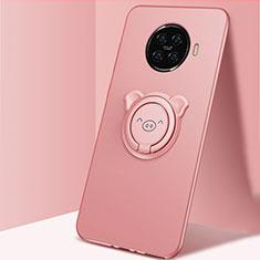 Funda Silicona Carcasa Ultrafina Goma con Magnetico Anillo de dedo Soporte para Oppo Ace2 Rosa