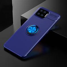 Funda Silicona Carcasa Ultrafina Goma con Magnetico Anillo de dedo Soporte para Oppo F17 Azul