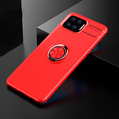 Funda Silicona Carcasa Ultrafina Goma con Magnetico Anillo de dedo Soporte para Oppo F17 Rojo