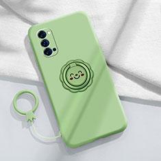 Funda Silicona Carcasa Ultrafina Goma con Magnetico Anillo de dedo Soporte para Oppo Reno4 5G Cian