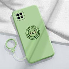 Funda Silicona Carcasa Ultrafina Goma con Magnetico Anillo de dedo Soporte para Oppo Reno4 SE 5G Menta Verde