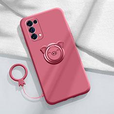Funda Silicona Carcasa Ultrafina Goma con Magnetico Anillo de dedo Soporte para Oppo Reno5 5G Rojo Rosa