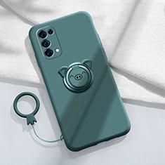 Funda Silicona Carcasa Ultrafina Goma con Magnetico Anillo de dedo Soporte para Oppo Reno5 Pro 5G Verde Noche