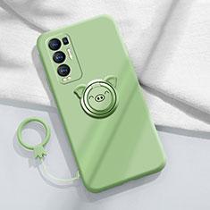 Funda Silicona Carcasa Ultrafina Goma con Magnetico Anillo de dedo Soporte para Oppo Reno5 Pro+ Plus 5G Menta Verde