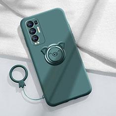 Funda Silicona Carcasa Ultrafina Goma con Magnetico Anillo de dedo Soporte para Oppo Reno5 Pro+ Plus 5G Verde Noche