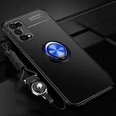 Funda Silicona Carcasa Ultrafina Goma con Magnetico Anillo de dedo Soporte para Realme V5 5G Azul y Negro