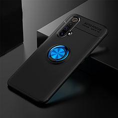Funda Silicona Carcasa Ultrafina Goma con Magnetico Anillo de dedo Soporte para Realme X3 Azul y Negro