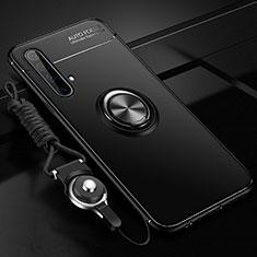 Funda Silicona Carcasa Ultrafina Goma con Magnetico Anillo de dedo Soporte para Realme X3 SuperZoom Negro