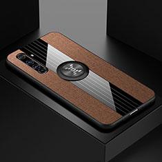 Funda Silicona Carcasa Ultrafina Goma con Magnetico Anillo de dedo Soporte para Realme X50 Pro 5G Marron