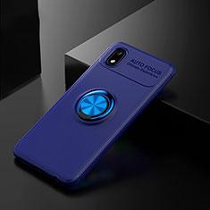 Funda Silicona Carcasa Ultrafina Goma con Magnetico Anillo de dedo Soporte para Samsung Galaxy A01 Core Azul