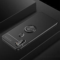 Funda Silicona Carcasa Ultrafina Goma con Magnetico Anillo de dedo Soporte para Samsung Galaxy A11 Negro