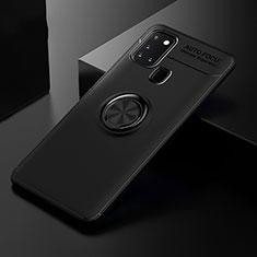 Funda Silicona Carcasa Ultrafina Goma con Magnetico Anillo de dedo Soporte para Samsung Galaxy A21s Negro