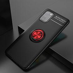 Funda Silicona Carcasa Ultrafina Goma con Magnetico Anillo de dedo Soporte para Samsung Galaxy A31 Rojo y Negro
