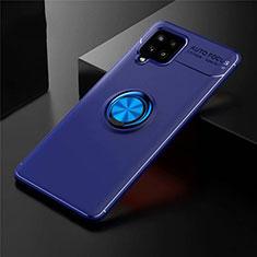 Funda Silicona Carcasa Ultrafina Goma con Magnetico Anillo de dedo Soporte para Samsung Galaxy A42 5G Azul
