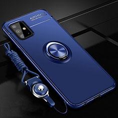 Funda Silicona Carcasa Ultrafina Goma con Magnetico Anillo de dedo Soporte para Samsung Galaxy A51 4G Azul