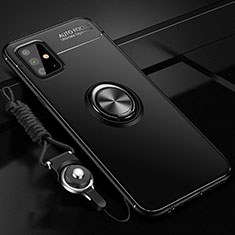 Funda Silicona Carcasa Ultrafina Goma con Magnetico Anillo de dedo Soporte para Samsung Galaxy A51 4G Negro