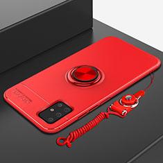 Funda Silicona Carcasa Ultrafina Goma con Magnetico Anillo de dedo Soporte para Samsung Galaxy A51 5G Rojo