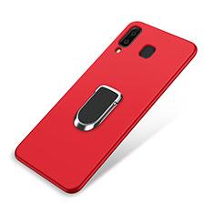 Funda Silicona Carcasa Ultrafina Goma con Magnetico Anillo de dedo Soporte para Samsung Galaxy A8 Star Rojo