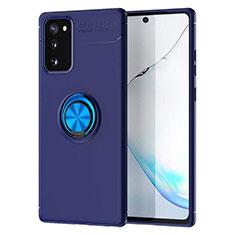 Funda Silicona Carcasa Ultrafina Goma con Magnetico Anillo de dedo Soporte para Samsung Galaxy Note 20 5G Azul
