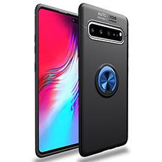 Funda Silicona Carcasa Ultrafina Goma con Magnetico Anillo de dedo Soporte para Samsung Galaxy S10 5G SM-G977B Azul y Negro