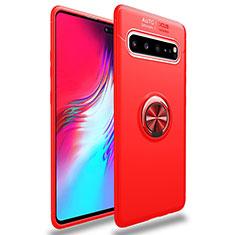 Funda Silicona Carcasa Ultrafina Goma con Magnetico Anillo de dedo Soporte para Samsung Galaxy S10 5G SM-G977B Rojo