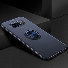 Funda Silicona Carcasa Ultrafina Goma con Magnetico Anillo de dedo Soporte para Samsung Galaxy S10 Plus Azul
