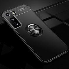Funda Silicona Carcasa Ultrafina Goma con Magnetico Anillo de dedo Soporte para Samsung Galaxy S21 5G Negro