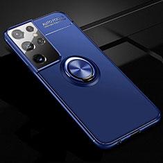 Funda Silicona Carcasa Ultrafina Goma con Magnetico Anillo de dedo Soporte para Samsung Galaxy S21 Ultra 5G Azul