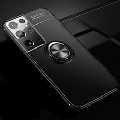 Funda Silicona Carcasa Ultrafina Goma con Magnetico Anillo de dedo Soporte para Samsung Galaxy S21 Ultra 5G Negro