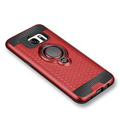 Funda Silicona Carcasa Ultrafina Goma con Magnetico Anillo de dedo Soporte para Samsung Galaxy S7 G930F G930FD Rojo