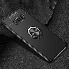 Funda Silicona Carcasa Ultrafina Goma con Magnetico Anillo de dedo Soporte para Samsung Galaxy S8 Negro